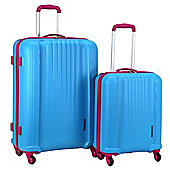 Swiss Case 4-Wheel Ez2c 2Pc Abs Suitcase Set, Blue & Pink