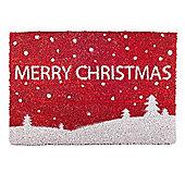 Snowy Scene 'Merry Christmas' Coir Door Mat