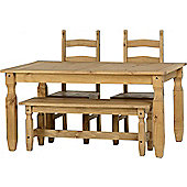 Corona Mexican 5' Dining Set With 4' Bench And 2 Chairs Distressed Waxed Pine