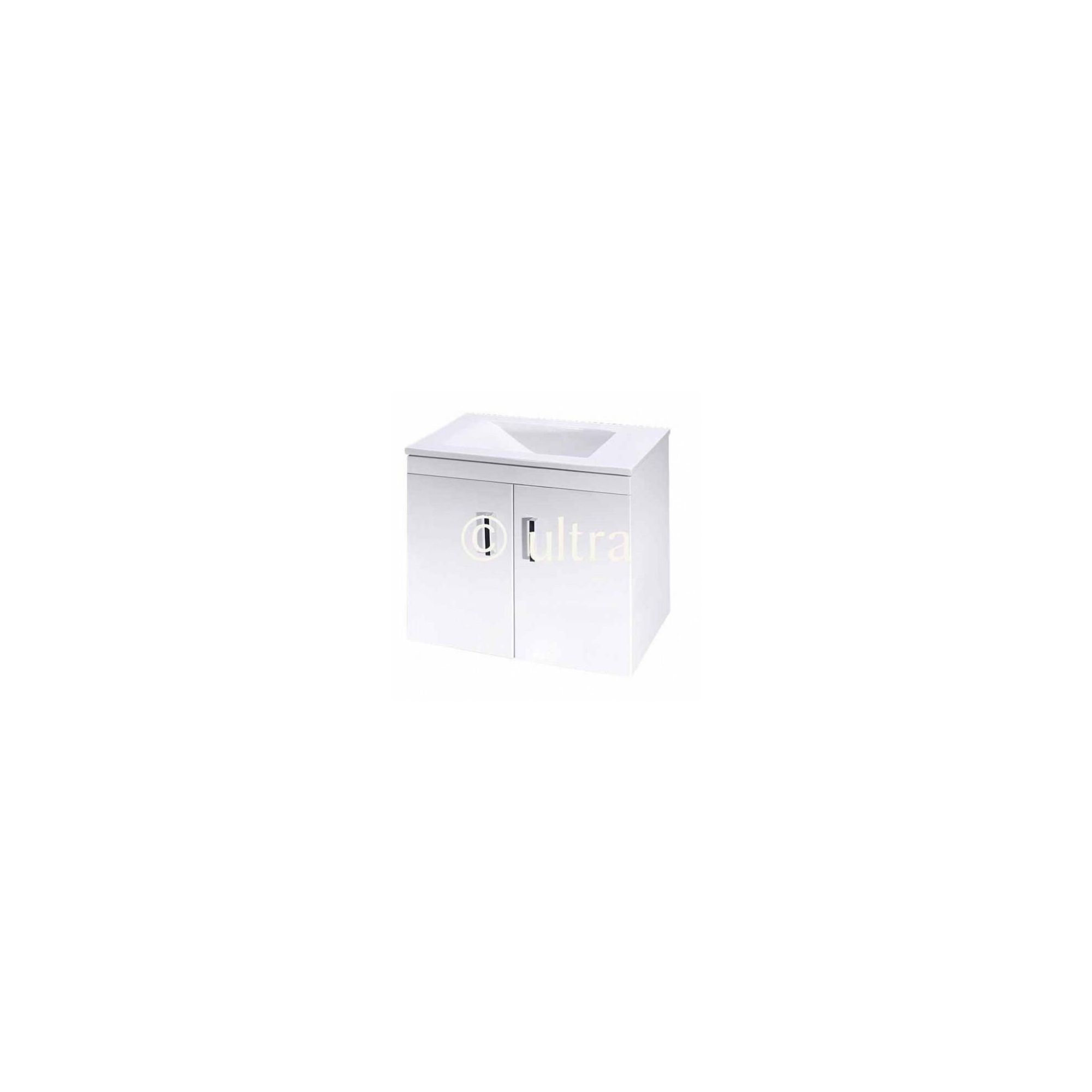 Ultra Liberty White Wall Mounted 2 Door Vanity Unit and Basin 450mm High x 550mm Wide