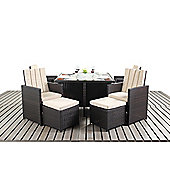 Home Etc Luxe Square 4 Seater Dining Set with Cushions - Dark Brown