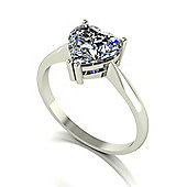 18ct Gold 8.0mm Heart Moissanite Single Stone Ring