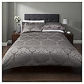 Cotton Rich Contemporary Bold Jacqaurd Duvet Set - Grey