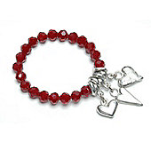 Garnet Crystal Bracelet with Heart Trio
