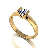 9ct Gold Tension set Solitaire ring set with a 5.0mm Round Brilliant Cut Moissanite Equivalent to 0.50ct