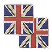 Union Jack Flag Coasters Vintage Design - 2 x Blue