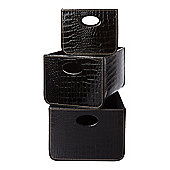 Biba Set Of 3 Black Mock Croc Storage Trays In Black