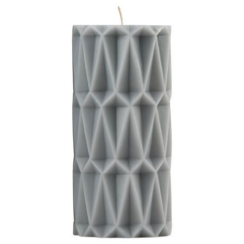 Moroccan Pillar Candle Large Light Grey