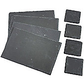 VonShef Set of 4x Coasters & 4x Placemats Natural Slate