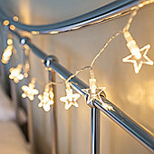 10 Warm White LED Star Battery Fairy Lights