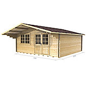 16ft x 16ft (5m x 5m) Garden Log Cabin - Double Glazing (34mm Wall Thickness)