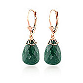 QP Jewellers 29.60ct Emerald Briolette Crown Earrings in 14K Rose Gold