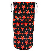 Snuggle Footmuff To Fit I'Candy Buggy Peach Pear Apple Cherry Black/Red Stars