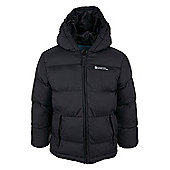 Ice Kids Padded Showerproof Water Resistant Hooded Warm Winter Jacket Coat - Black