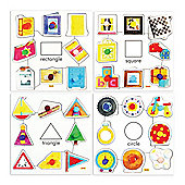 Bigjigs Toys BJ088 Shapes Set 1 Pegged Puzzles (Set of 4)