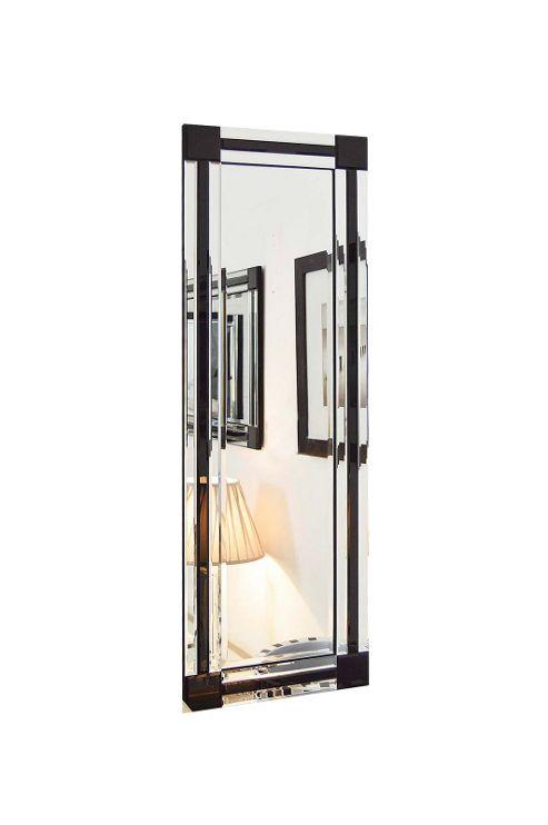 Buy full length black and silver bevelled triple edge for Black full length wall mirror