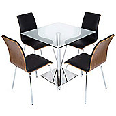 LEVV DTGS-60 Black and Walnut Dining Set
