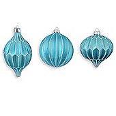 Set of Three Multi-Textural Shaped Glass Bauble Tree Decorations in Light Blue