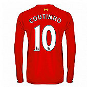 2013-14 Liverpool Long Sleeve Home Shirt (Coutinho 10) - Kids - Red