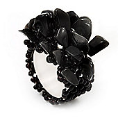 Black Semiprecious Chip Cluster Flex Ring