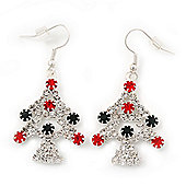 Green/Red/White Crystal 'Christmas Tree' Drop Earrings In Silver Plating - 5cm Length