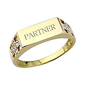 Sterling Silver 9ct Gold Overlay Diamond Signet Ring. Message: Partner