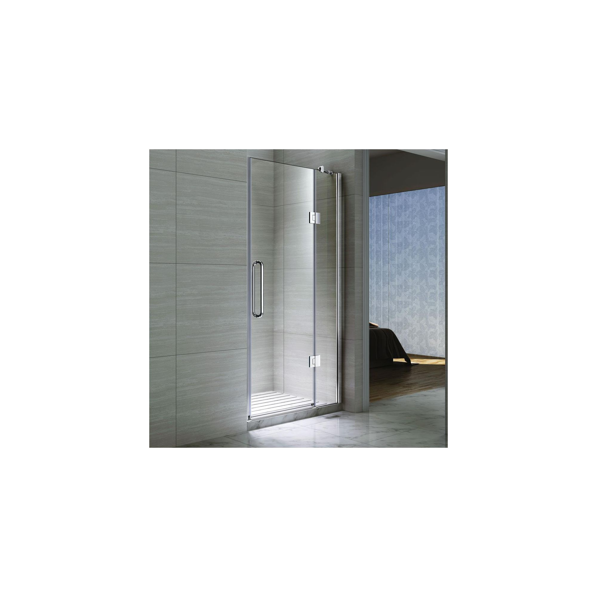 Desire Ten Inline Hinged Shower Door, 1000mm Wide, Semi-Frameless, 10mm Glass at Tesco Direct