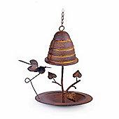 Bee Hive Design Hanging Metal Garden Bird Feeder