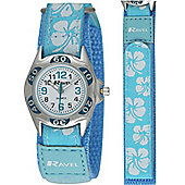 Girls Blue Hibiscus Velcro Strap Watch