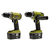 Combi Drill & Drill Driver Twin Pack 18V One+ 2 x NiCd