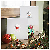 Tesco Robin And Reindeer Icons Christmas Cards, 10 Pack