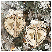 Champagne Heart and Key Christmas Tree Decorations, 3 pack