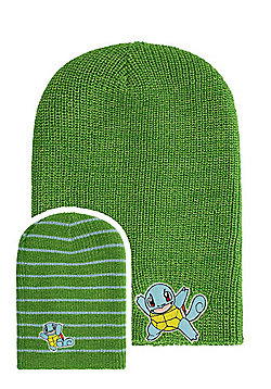 Pokemon Squirtle Reversible Stripey Green Beanie - Green