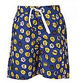 Lego Mini Figure Heads boy's Swim Shorts - Dk Blue - Blue