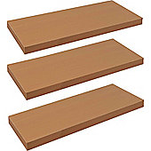 Harbour Housewares Pack of 3 Floating Wooden Wall Shelves 60cm - Natural Beech