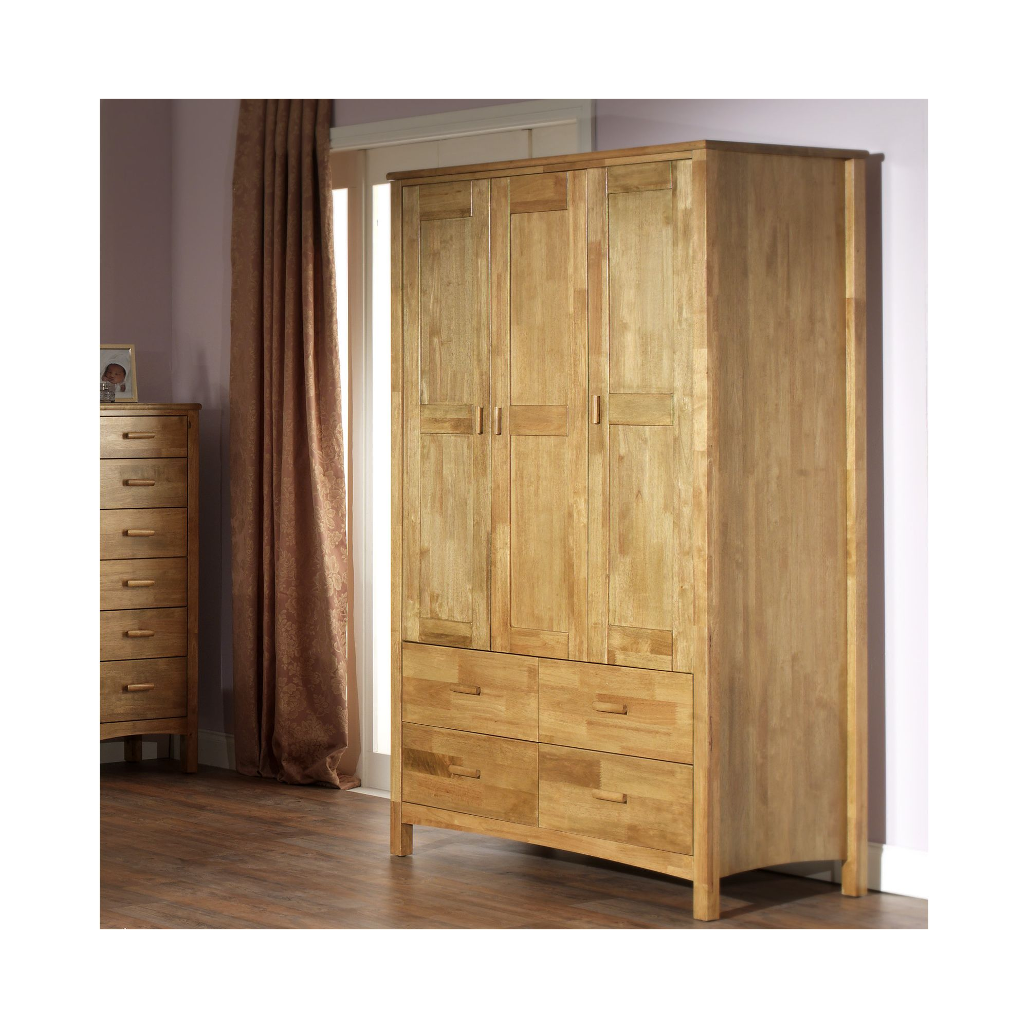 Serene Furnishings Eleanor 3 Door Wardrobe - Honey Oak at Tesco Direct