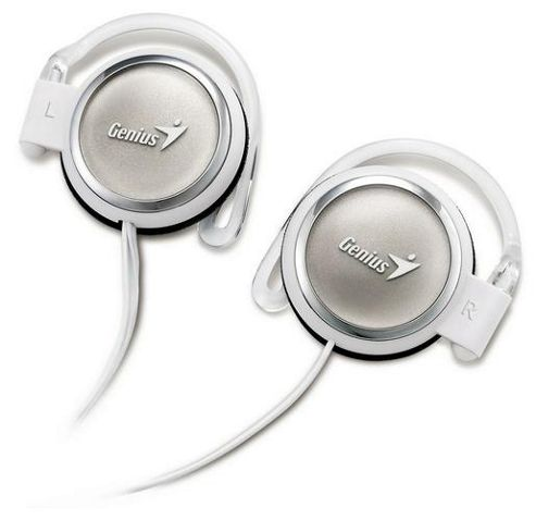Genius Stylish Clip-On 90cm Retractable Cord Headphones - White