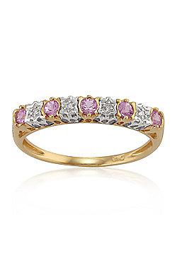 Gemondo 9ct Yellow Gold 0.26ct Pink Sapphire & 2pt Diamond Half Eternity Band Ring