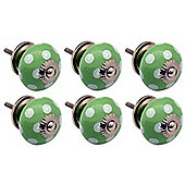 Ceramic Cupboard Drawer Knobs - Polka Dot Design - Green / White - Pack Of 6