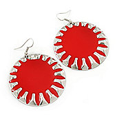 Large Round Red Enamel Drop Earrings In Silver Tone - 45mm Diameter
