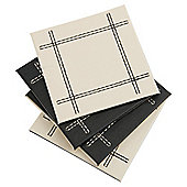 Set of 4 Faux Leather Black & Cream Reversible Coasters