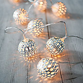 10 Silver Moroccan Orb Battery LED Fairy Lights