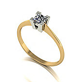18ct Gold 4.0mm Square Brilliant Moissanite Single Stone Ring