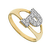 Jewelco London 9ct Gold Ladies' Identity ID Initial CZ Ring, Letter P - Size P
