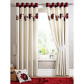 Dreams n Drapes Kezia Red 46x72 Eyelet Lined Eyelet Curtains