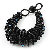 Chunky Black Glass Beaded Bracelet - 17cm Length