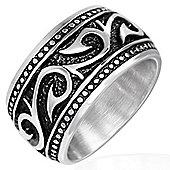 Urban Male Men's Medieval Vine Design Stainless Steel Wide Ring 18mm