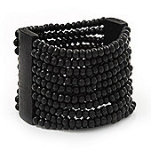 Wide Black Multistrand Wood Bead Bracelet - up to 20cm wrist