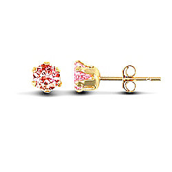 Jewelco London 9ct Yellow Gold studs claw-set with 3mm Solitaire pink CZ stone