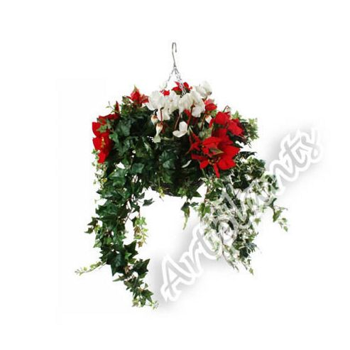 Artificial White Cyclamen, Red Poinsettia and Mixed Ivy Display in a 10